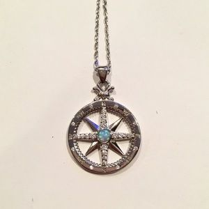 Jewelry - Sterling Silver Opal Compass Pendant Necklace